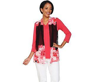 Susan Graver Printed Sheer Chiffon Vest Set