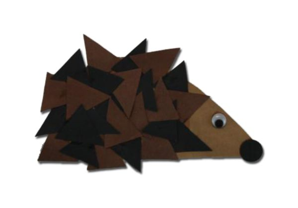 Hedgehog Preschool Art Project use for shapes lesson on triangles and for Hedgie the Hedgehog from The Hat by Jan Brett.
