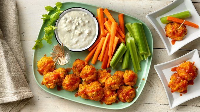 Get your Buffalo chicken fix without the mess! These spicy bites come together quickly and fly off the plate just as fast.