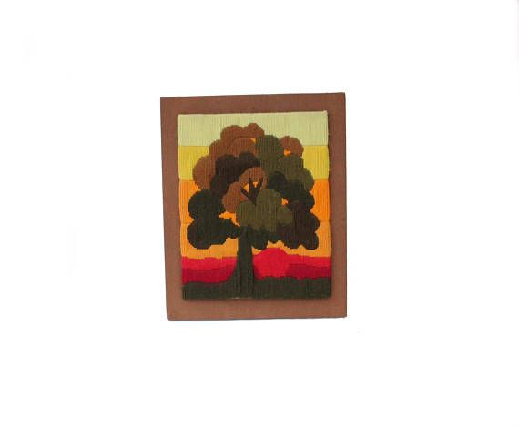 Cool vintage retro 70s Wall hanging Board with handembroidered