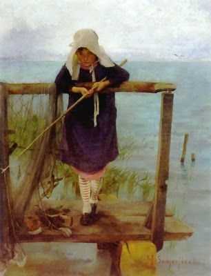 Girl Fishing 1884 -Helene Sofia Schjerfbeck (1862-1946) is one of the most famous Finnish painters of all time