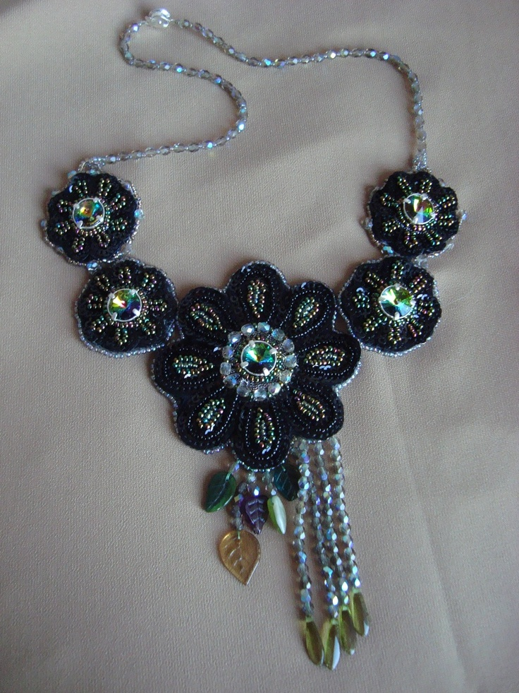 Adela Petcu_ The dark flowers_ with vitrail Swarovski ,sequins, cristals, Czech leaves and Toho beads