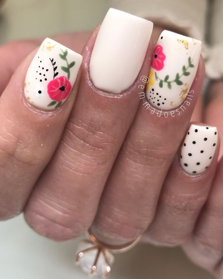 """328 Likes, 6 Comments - Emma Cooper (@emmadoesnails) on Instagram: """"Florals inspired by @tramsnails client creation! • • • #boise #boisenails #nails #nailart…"""""""