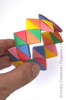 Paper bracelet from folded paper strips.