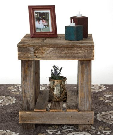 Another great find on #zulily! Natural Barnwood End Table #zulilyfinds