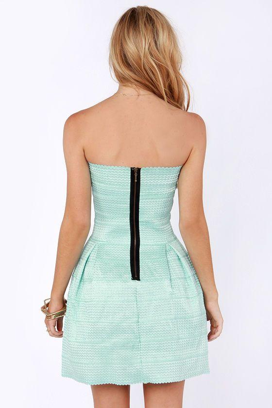 Bell Curves Ahead Strapless Mint Blue Bandage Dress at LuLus.com!
