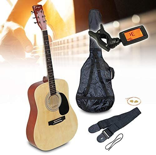 Elv Natural Johnny Brook Jb300 41 Acoustic Guitar Kit With Bag Tuner Strings Picks Strap Acoustic Guitar Kits Guitar Kits Acoustic Guitar