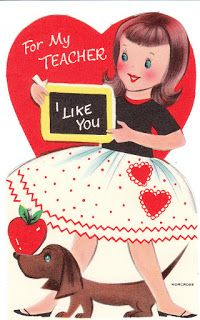 """Vintage Dachshund Valentine - This little Dachshund went to school with a little girl.  """"For My Teacher - I Like You."""""""