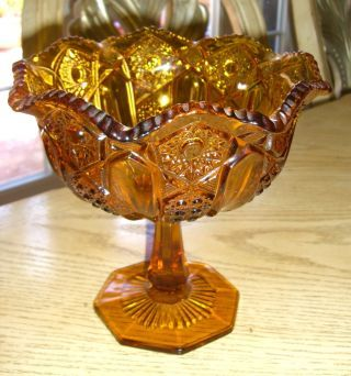 Price of Antique Glassware | Amber Glass Crystal ? Pedestal Bowl_brown Plate_compote_center Table ...