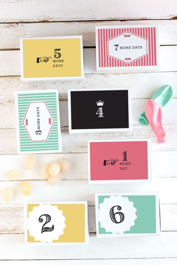 Week Long Birthday Countdown Why not make the next birthday a week long celebration? That is why I came up with this adorable birthday countdown calendar. Everyday the special birthday child gets to open one box to reveal a little surprise or treat.