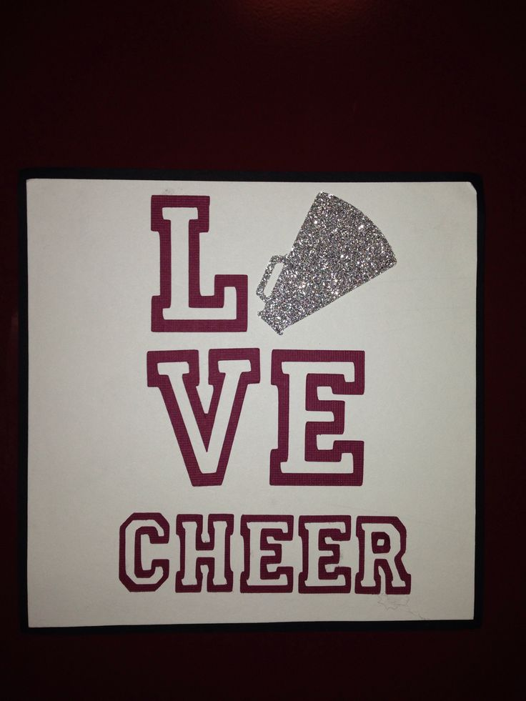 Cheerleading locker signs/decoration.  Matted on black cardstock.