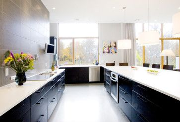 low kitchen cabinets, black finish