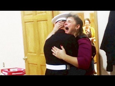 Visit http://WelcomeHomeBlog.com for more surprise military homecomings!  This video is of my wife, Tammy, and our middle son, Mitchell, who is presently at camp Lejeune for infantry training. She wasnt expecting to see him until Christmas time, and this would have been our first year without having all our boys for Thanksgiving. She had been ...