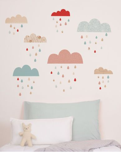raindrops keep falling on my head...clouds wall decor...