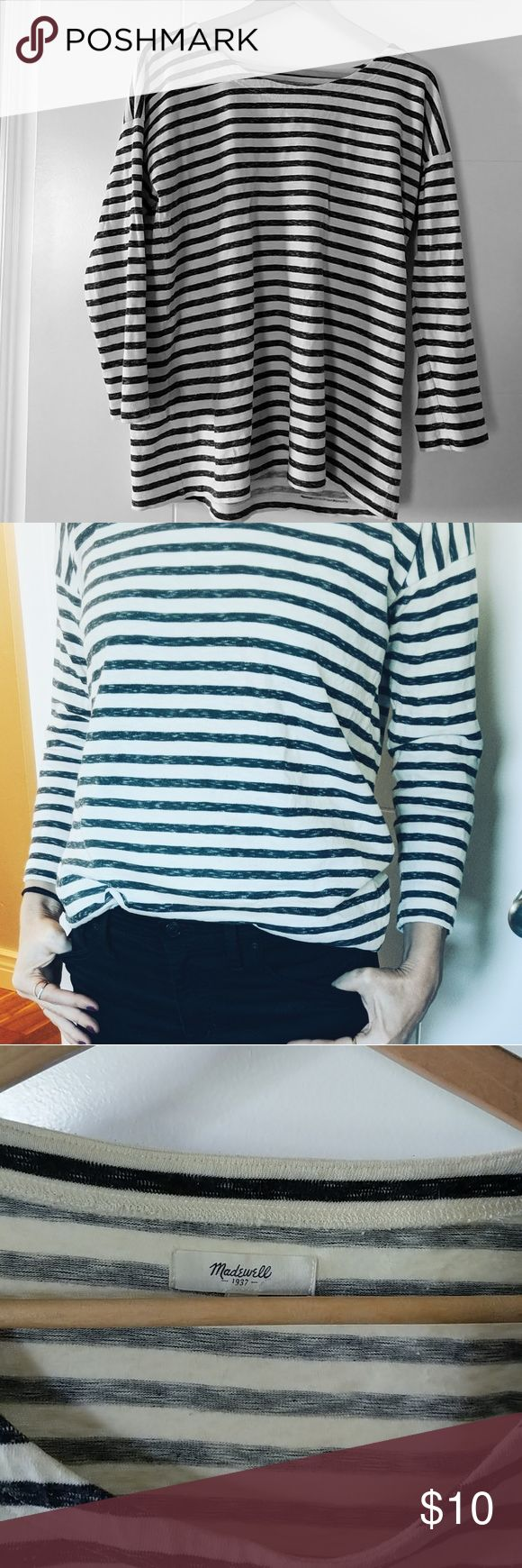 Madewell striped tee 3/4 sleeved slouchy black and white striped tee. 100% cotton. Madewell Tops Tees - Long Sleeve