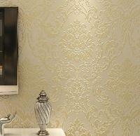 Нетканые тиснением спальня обои современный дамасской обои белый обои классический стены бумаги 3d обои для гостиной