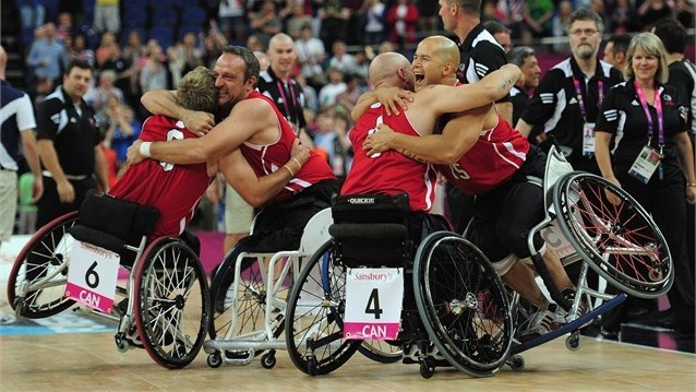 Canada celebrate gold in the men's Wheelchair Basketball