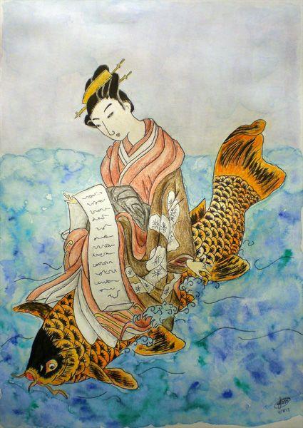 Mitate no kinko (original by Suzuki Harunobu) colored pencil, ink, water