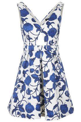 Cut-Out Rose Print Dress