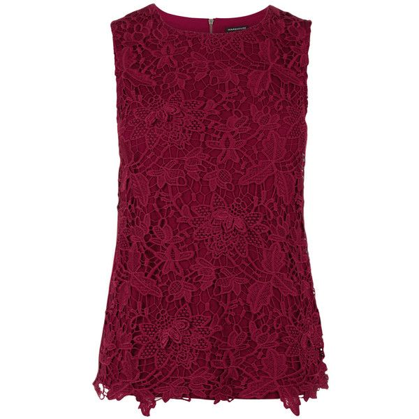 Warehouse Pretty Leaf Lace Shell Top (210 SAR) ❤ liked on Polyvore featuring tops, red, sleeveless tops, purple lace top, red shell top, red top and shell tops