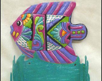 Toilet Paper Holder, Hand Painted Metal Tropical Fish, Tropical Bathroom Decor, Bathroom Accessories, Metal Art - M800-PK -TP