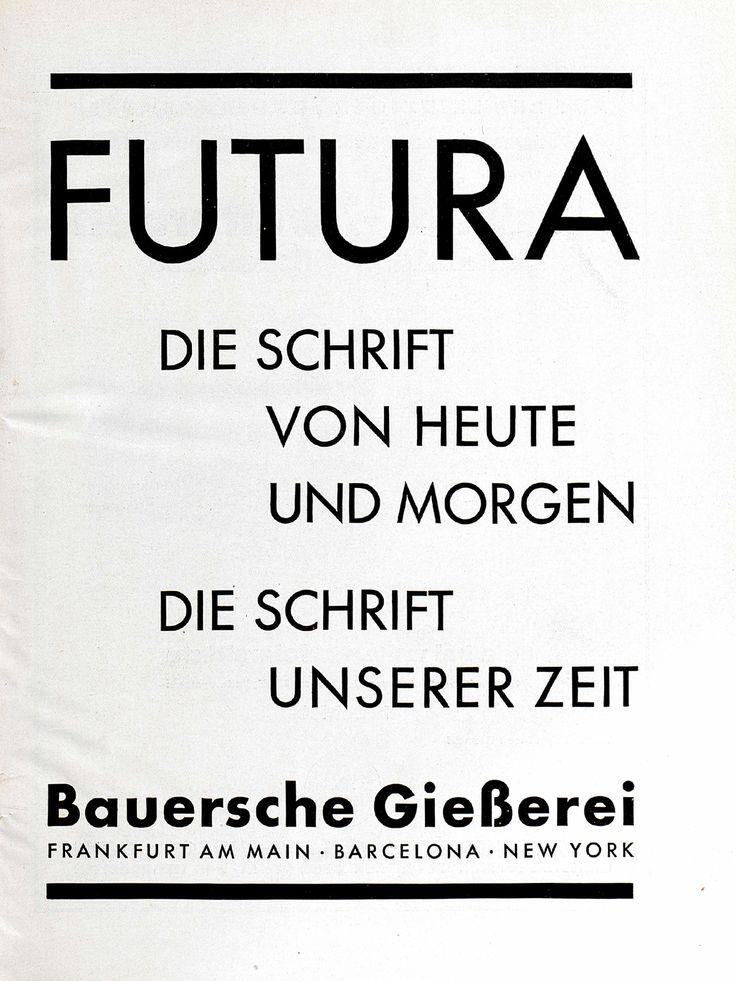 """Futura Anzeige, """"Futura – Die Schrift von heute und morgen"""", Bauersche Giesserei Gebrauchsgraphik, Jhg. 6, Heft 2 (Februar), 1929, S. 1"""