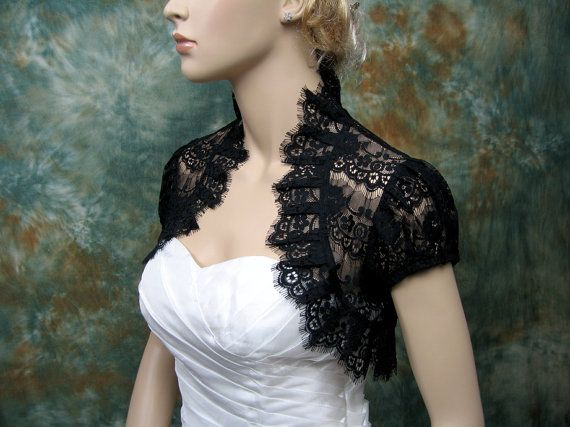 Black lace short sleeve lace bolero jacket lace by alexbridal, $49.99