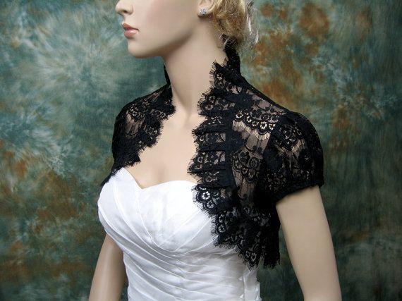 Black lace short sleeve lace bolero jacket lace shrug wedding bolero wedding jacket wedding shrug bridal bolero bridal jacket bridal shrug