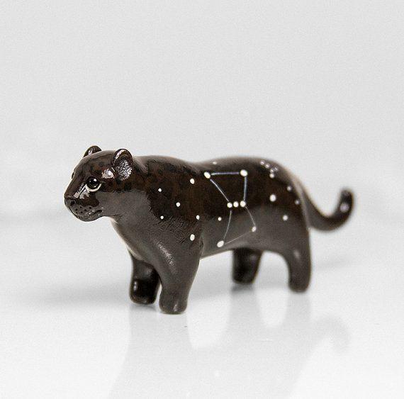 RESERVED for Lissie Melanistic Jaguar Figurine OOAK Handmade Polymer Clay Animal Totem