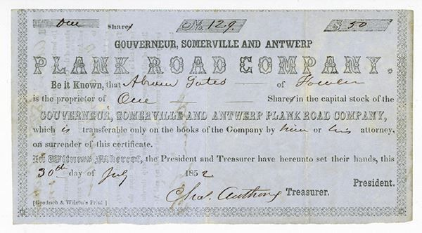 Gouverneur, Somerville and Antwerp Plank Road Co., 1852 Issued Stock Certificate - New York. 1 Share Capital Stock Issued Stock Certificate, Black print on black border printed on blue paper as small sized certificate, Company title at top, Fine-VF condition. #Stock/ShareCertificates #MADonC