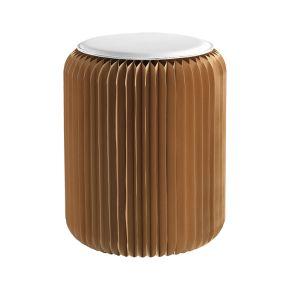 VIDEO Sgabello Mascagni O1356   sgabello pieghevole in carta 'accordion' con cuscino in ecopelle. dimensione: 35x42 (18x42 piegato). portata massima: 300 kg.