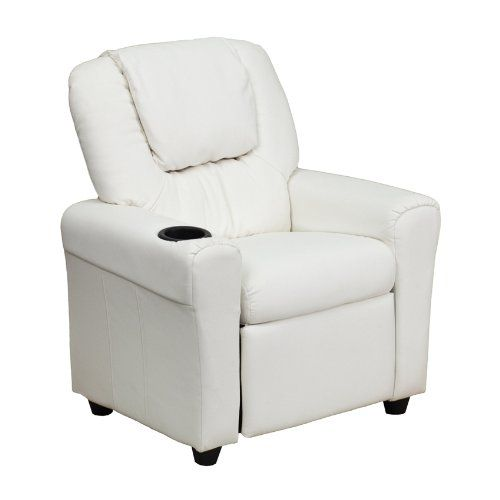 Offex OFDGULTKIDWHITEGG Contemporary White Vinyl Kids Recliner with Cup Holder and Headrest ** To view further for this item, visit the image link.