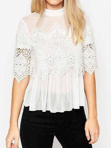 White High Neck Lace Crochet Detail Sheer Blouse