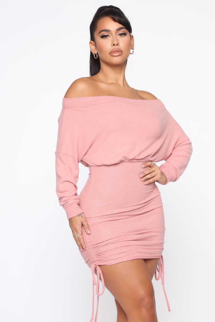 Warm Thoughts Ruched Sweater Dress Mauve in 2021