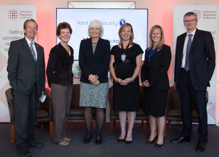 Solicitors Regulation Authority (SRA) representatives participated in an open forum event hosted by Kent Law Society (KLS) on 10 June 2015. From left: KLS former President Jon Pitt; SRA Board member Jane Furniss; SRA Board Chair Enid Rowlands; KLS President Victoria Ansell; KLS Vice President Vanda James; and SRA Board member David Willis.