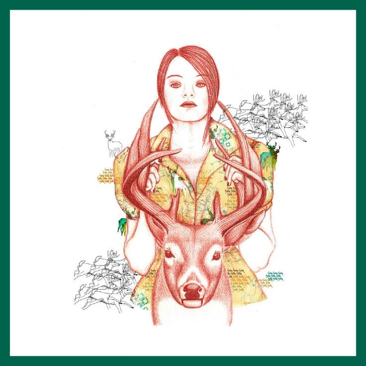 www.julianaveiga.com  #illustration #scandinavian #textiles #textiledesign #drawing #deer #julianaveiga #textileprint