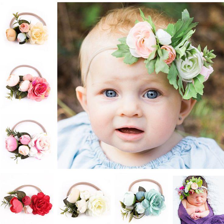 6 Unids/lote Recién Nacido Vendas de La Flor Flores Pelo de Las Muchachas Headwear Niños Accesorios Para El Cabello Recién Nacido accesorios de fotografía | 32820972314_tr