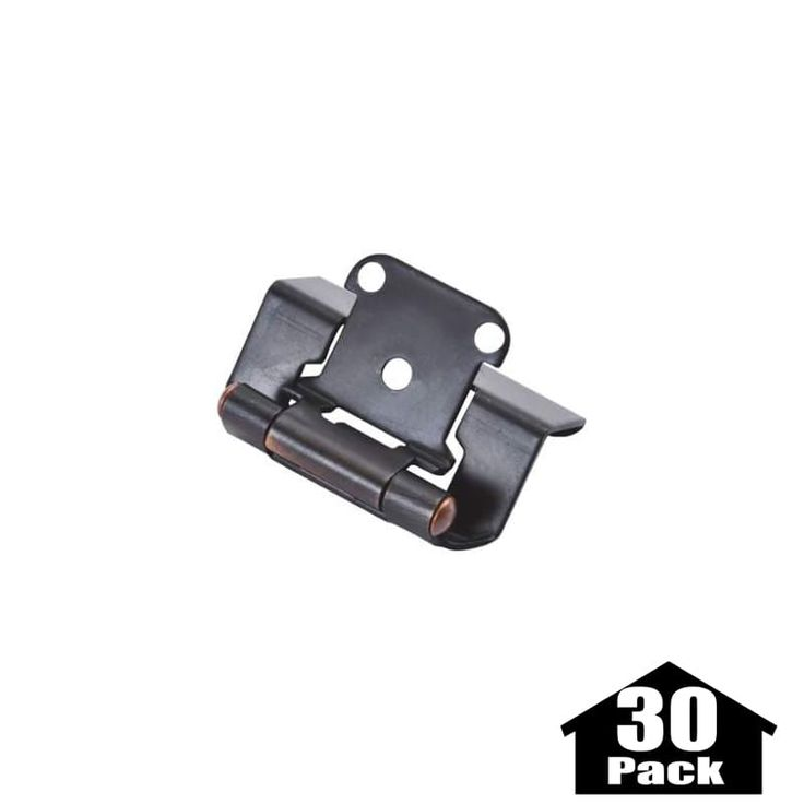 Hickory Hardware P5710F-30PACK Package of 2 Full Wrap Self Closing Hinges - 30 P Vintage Bronze Cabinet Hinges Overlay Hinges Wrap Hinges