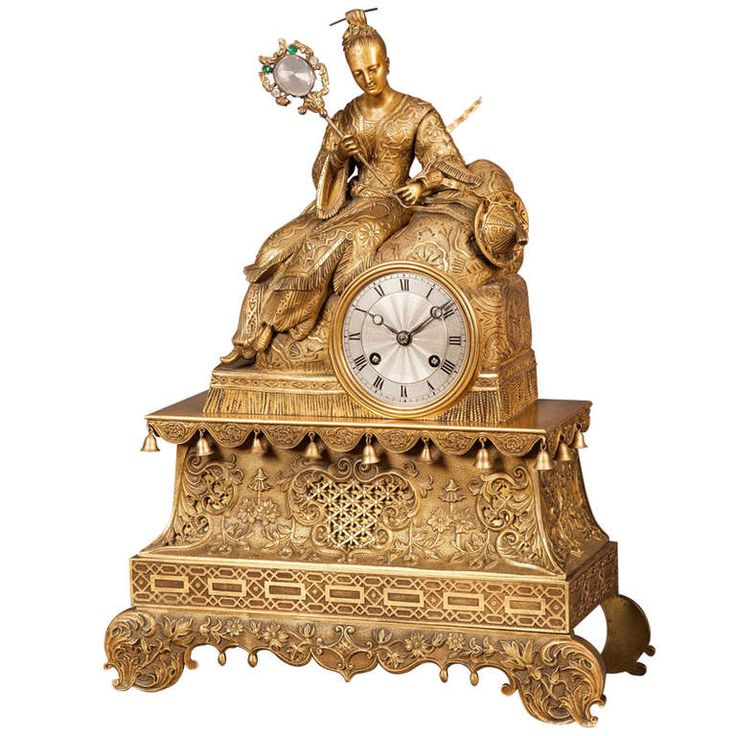 A Good French Antique Mantle Clock in the Chinoiserie Taste | From a unique collection of antique and modern bronzes at https://www.1stdibs.com/furniture/more-furniture-collectibles/bronzes/