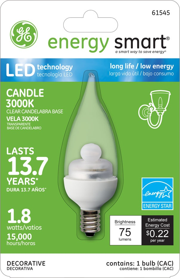 GE Energy Smart 10W Replacement (1.8W) Candle CA11 LED Bulb (Warm, Clear, E12) $19.95