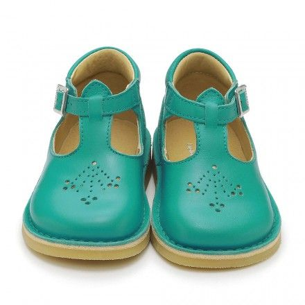 Mini Lottie, Marine Blue Leather Girls Buckle Classics - First Walking Shoes - Girls Shoes