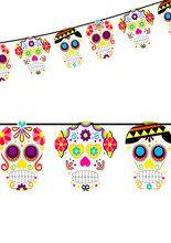 Sugar Skull Garland Day of the Dead multicoloured 213x25cm