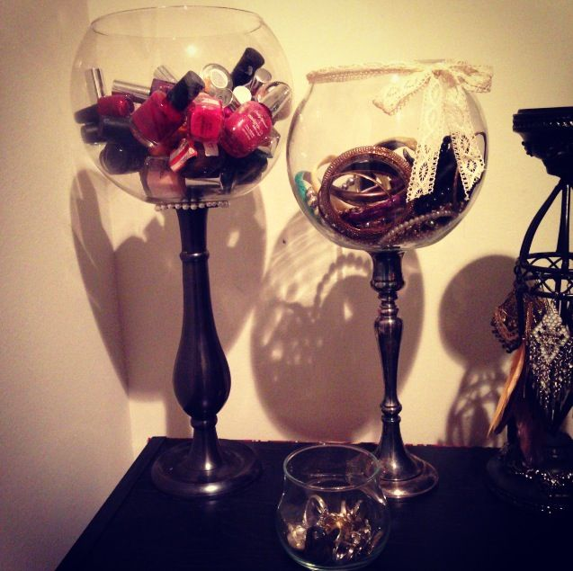 $1 dollar candle sticks and fish bowls from the thrift store. Fancy material & a…