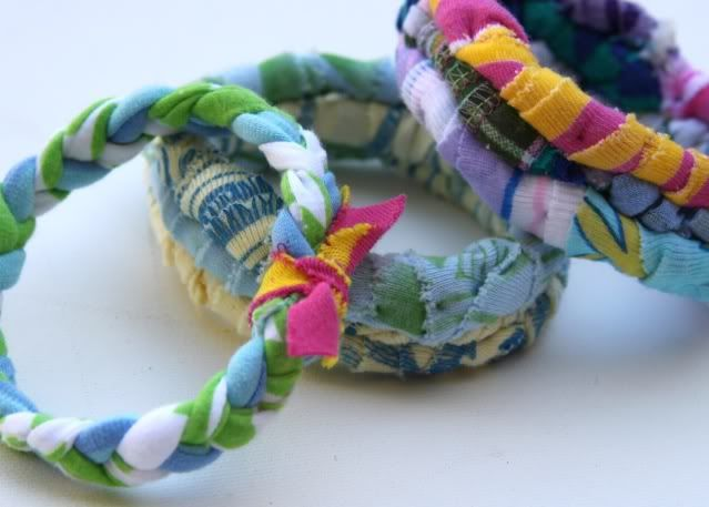 Recycled t-shirt braided bracelet.