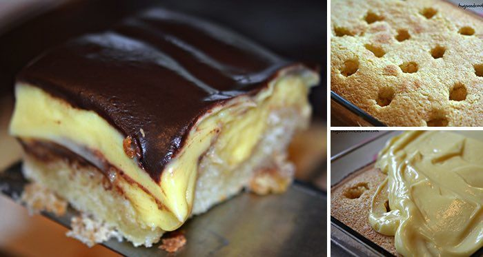 Vyskúšajte jednoduchý pudingový dezert s čokoládovou polevou. Je vynikajúci. Mňam!