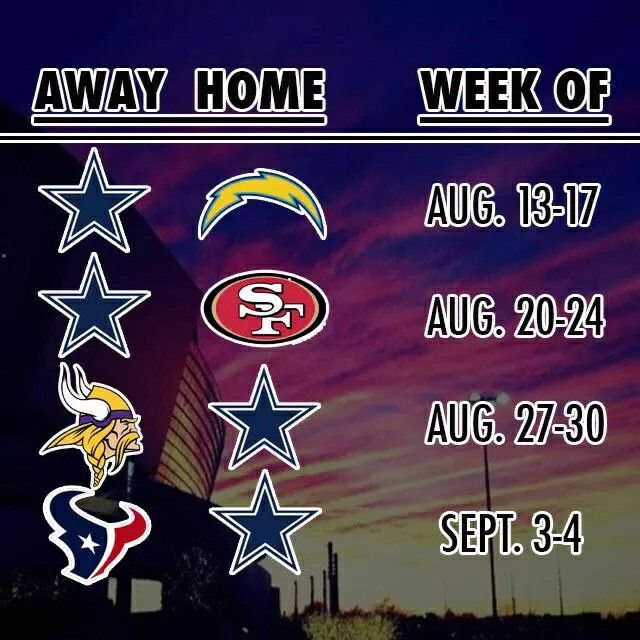 Dallas Cowboys Preseason Schedule 2015