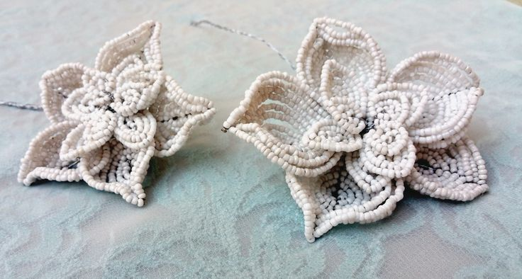 Cute star shaped hand-beaded flowers created by myself, Annalee Beer of EverAfter Artisanry