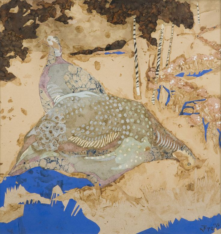 Karol Frycz, Perliczki na tle ogrodu, 1903 #birds #ptaki #kolekcjaMNK #MNKcollection #kolekcja