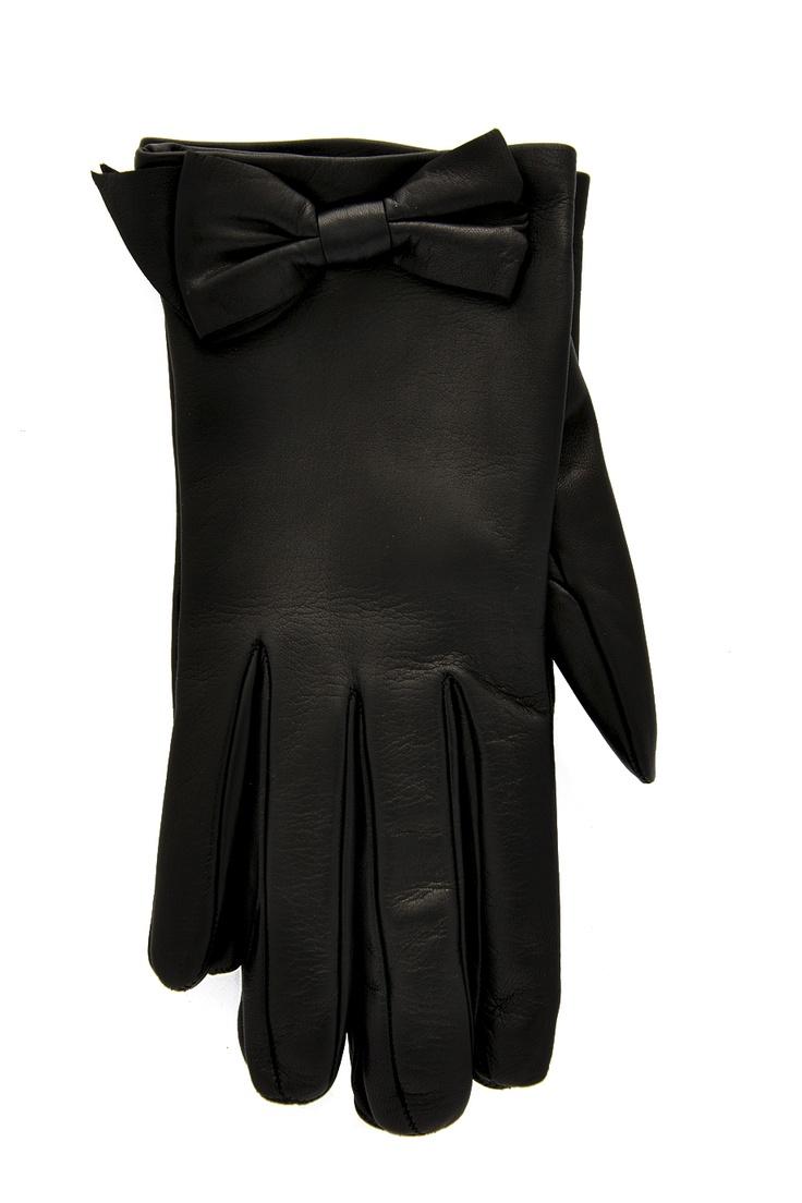 Prada womens leather gloves - Prada Bow Nappa Black Leather Gloves