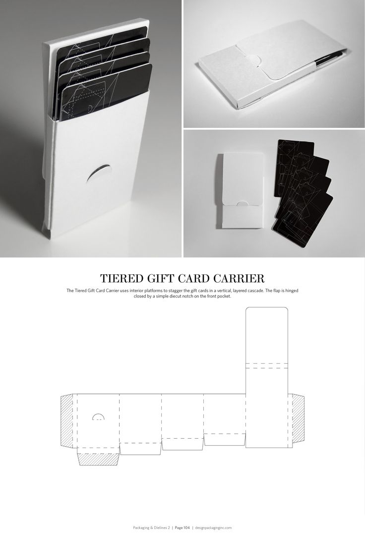 Tiered Gift Card Carrier – FREE resource for structural packaging design dielines